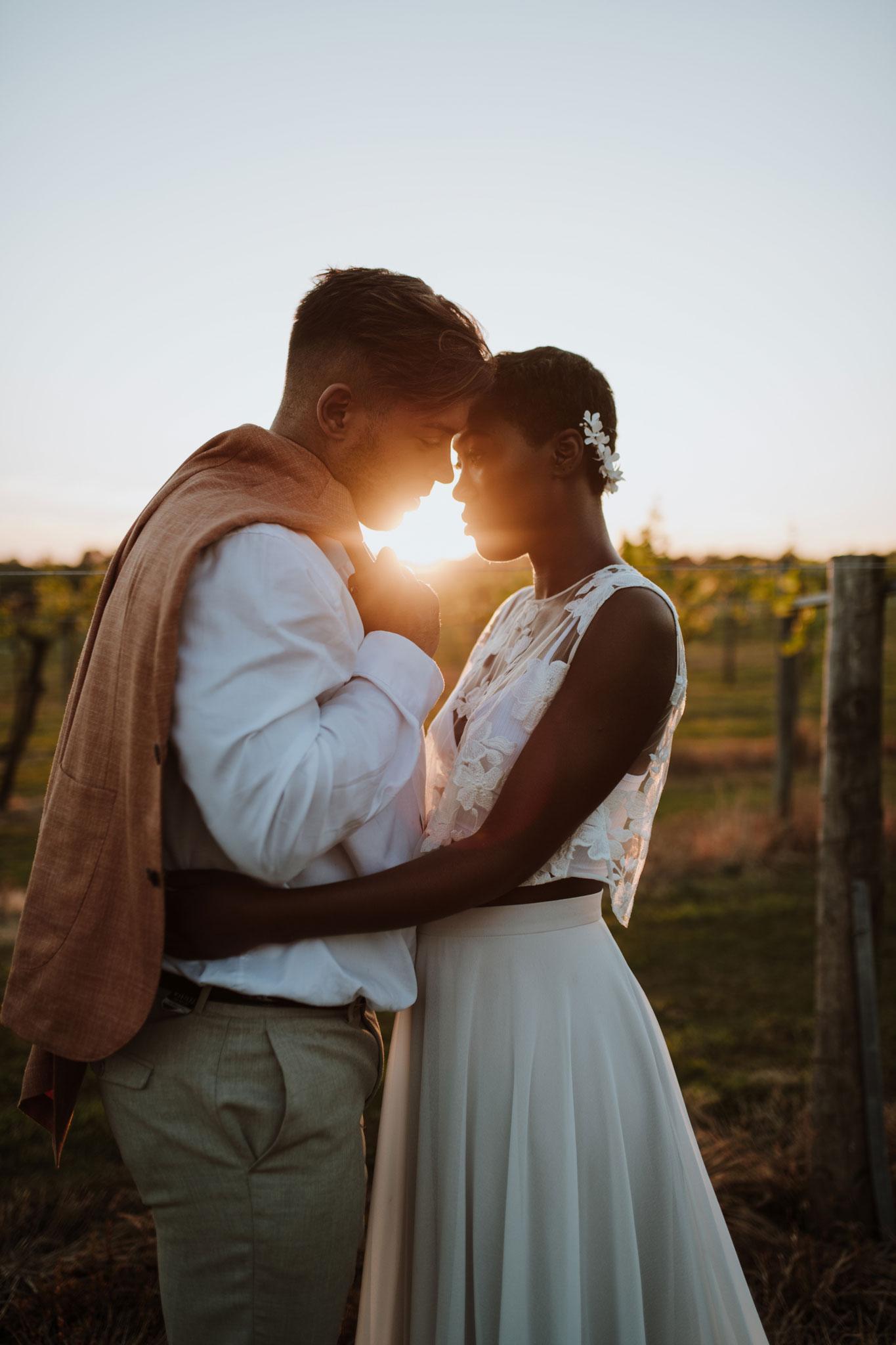 Golden hour, just married, bride, groom, couple, vineyard