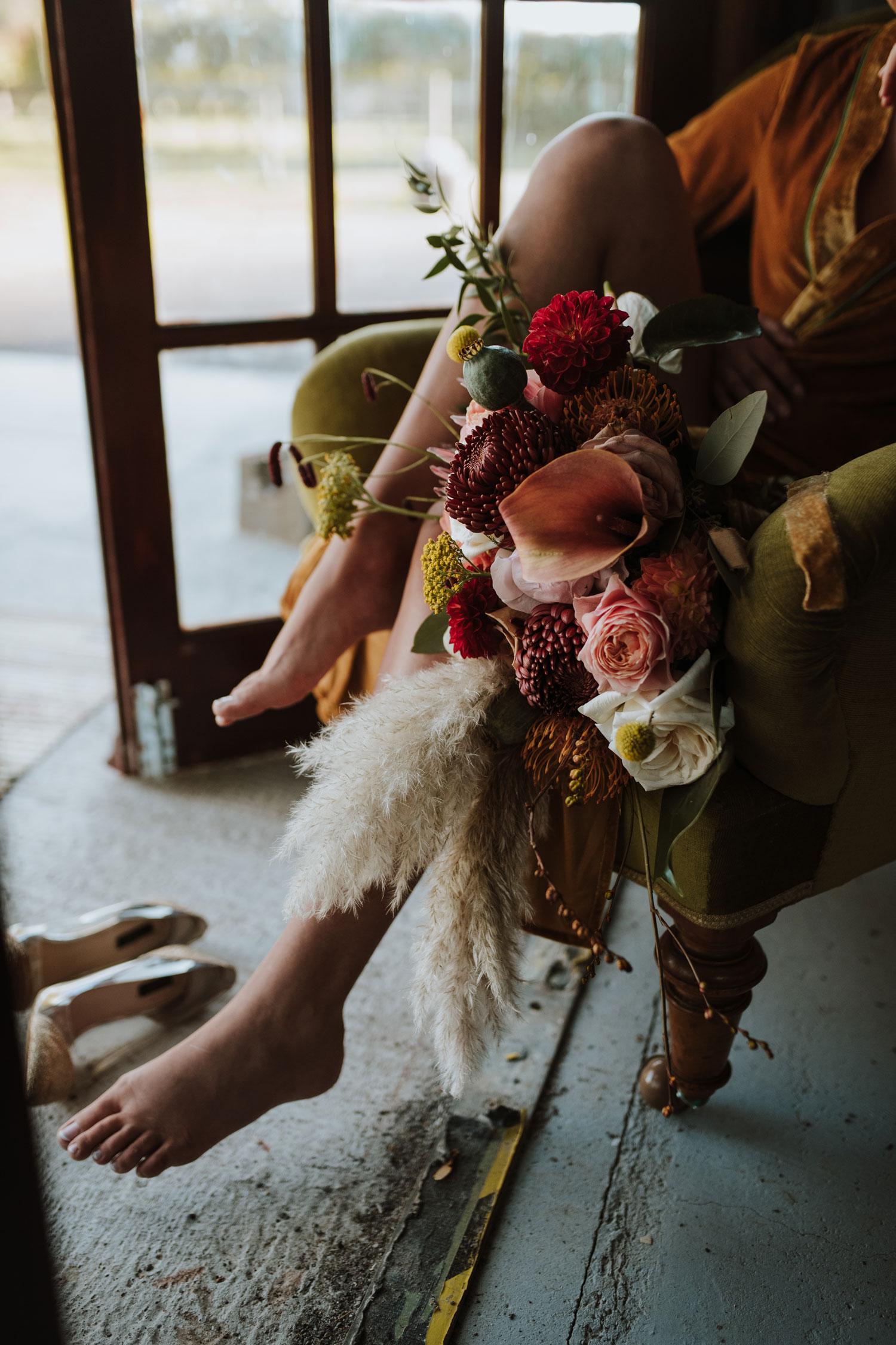 wedding florist london bridal bouquet 1970s pampas grass