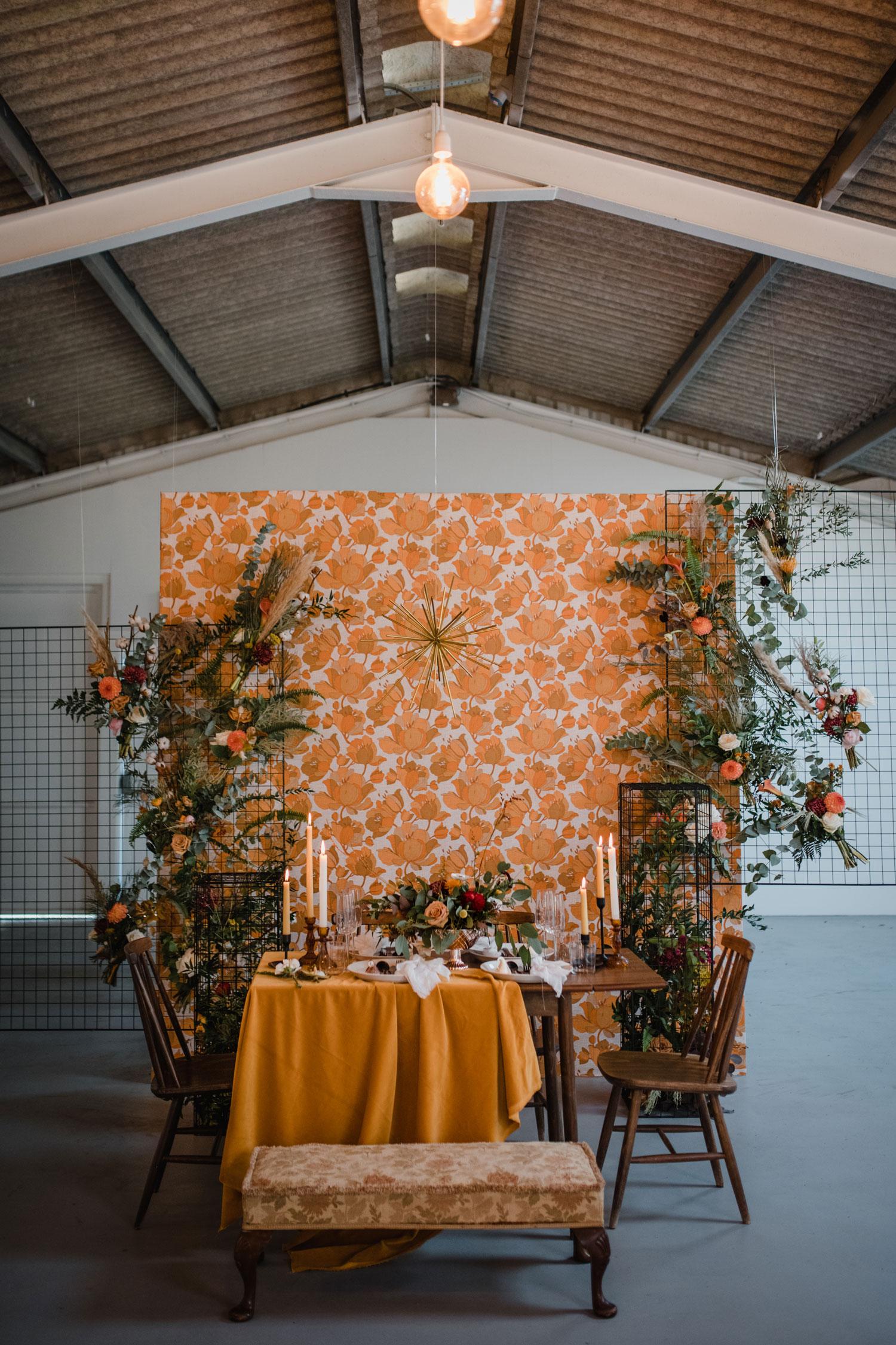 vintage wedding flowers mid-century 1970s wedding inspiration reception