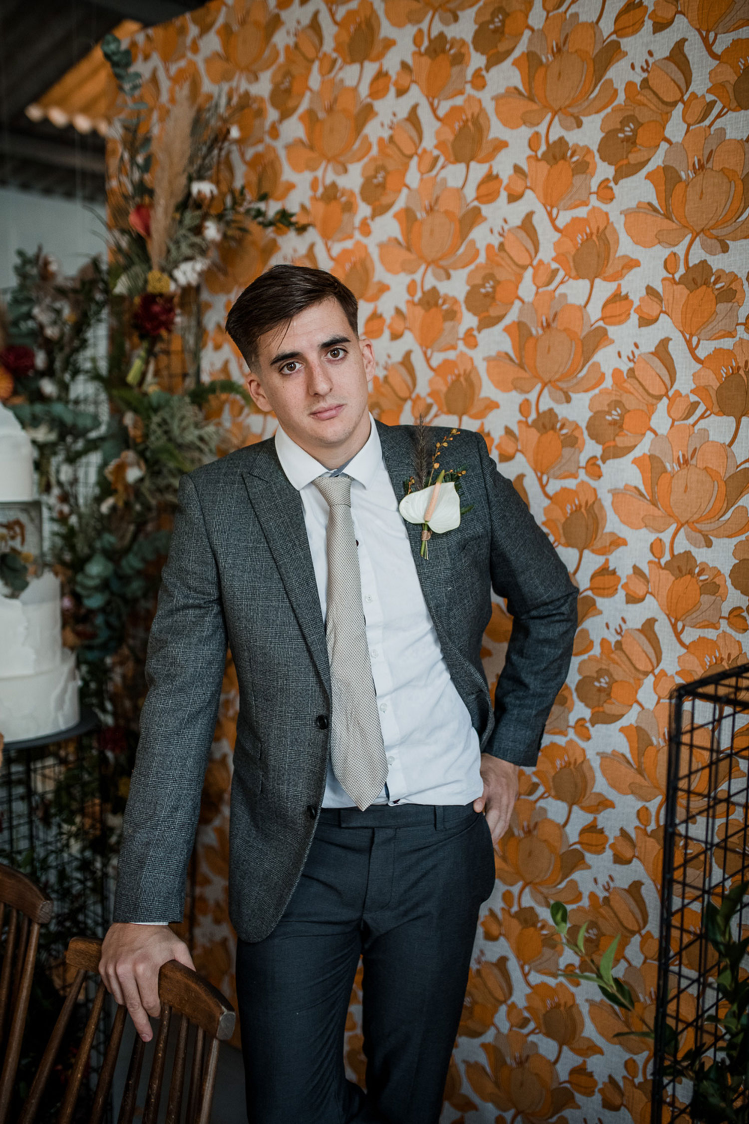 buttonhole groom wedding florist london mid century 1970s flowers