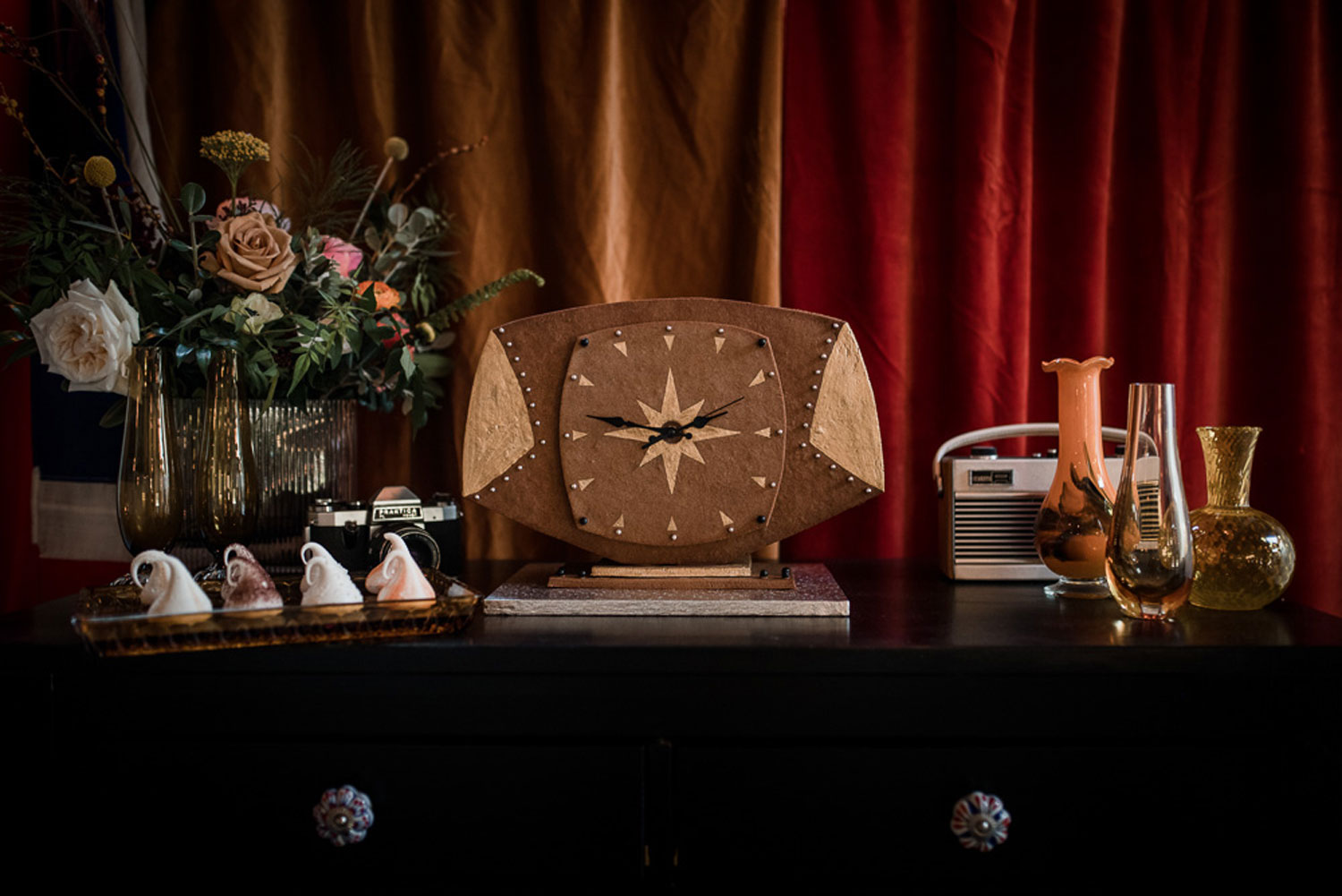 gingerbread mantlepiece clock vintage roberts radio and camera 1970s mid century furniture