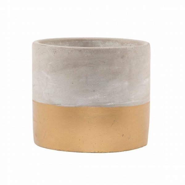 gold bottom concrete plant pot