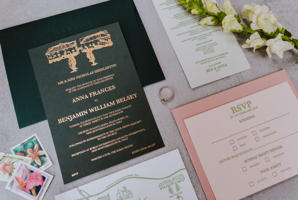 wedding stationery letterpress gold foil flat lay