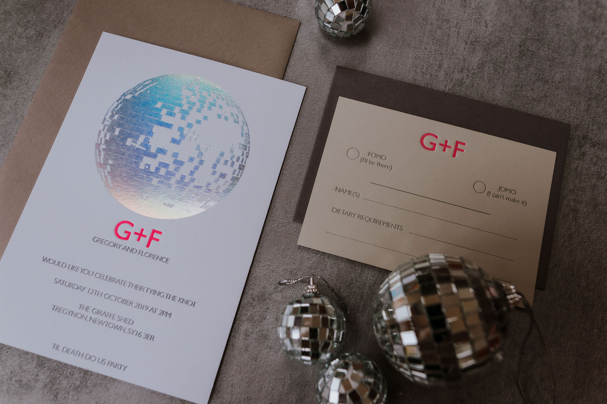 modern letterpress stationery with disco ball theme