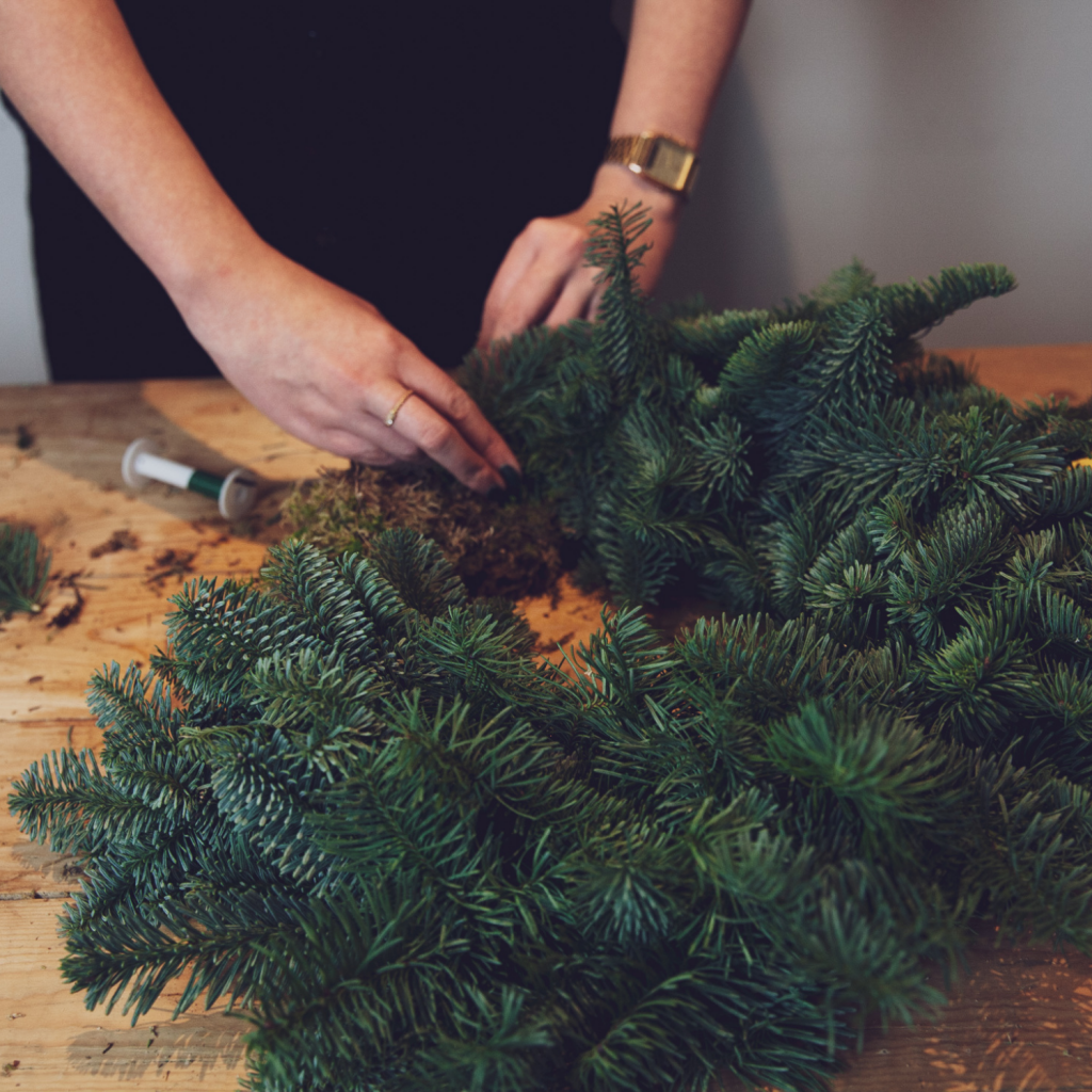 online wreath making workshops florist creating wreath