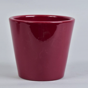 raspberry ceramic plant pot 15cm on white background