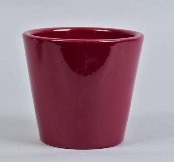 raspberry ceramic plant pot 15cm on white background