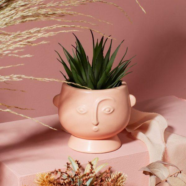 matte pink clay face plant pot