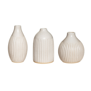 Grooved Speckled Stoneware Bud Vases | Set of 3