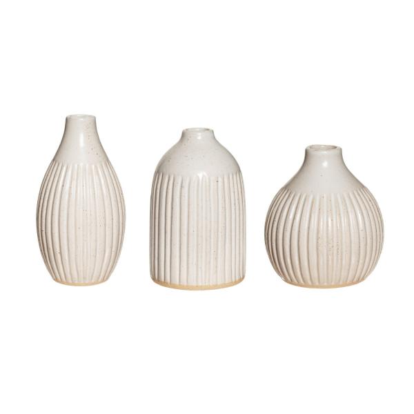 Grooved Speckled Stoneware Bud Vases | Set of 3