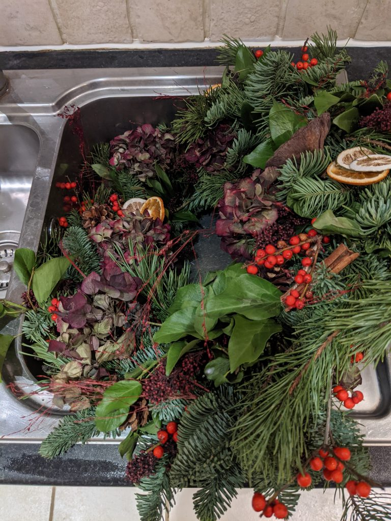 How to water a christmas wreath in sink
