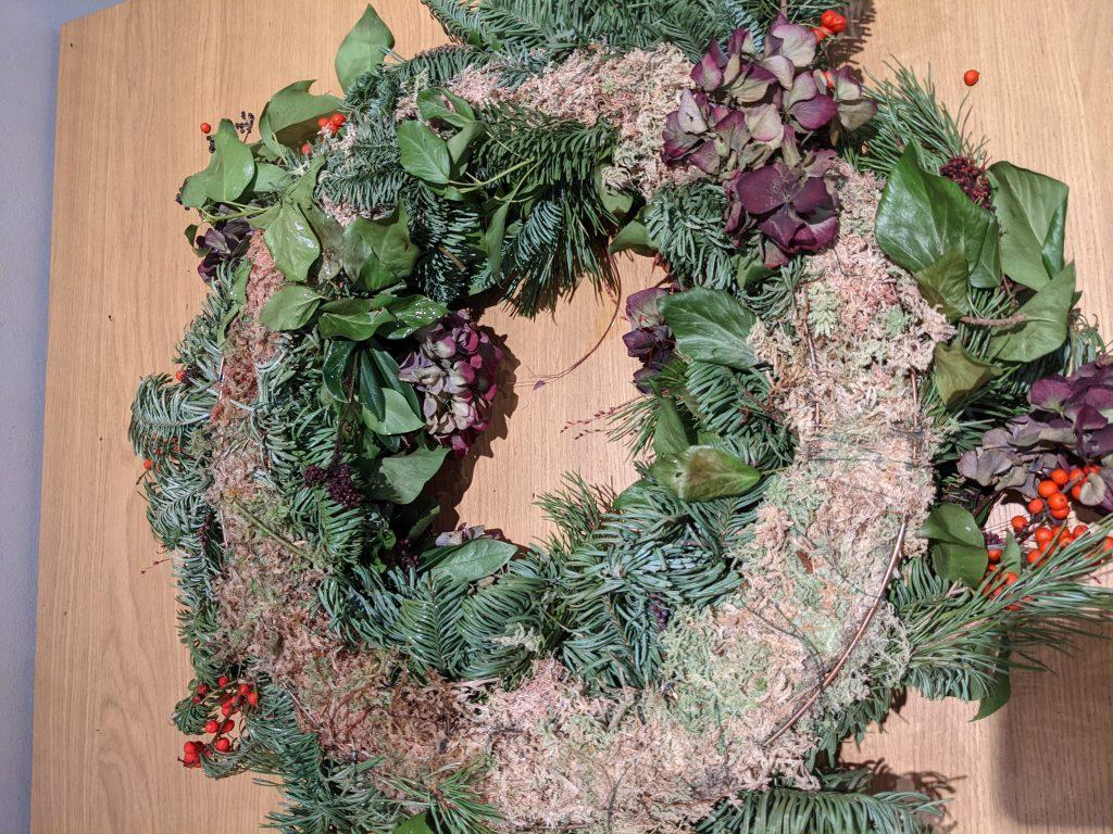 moss based wreath how to take apart
