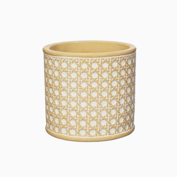 rattan concrete plant pot on a white background