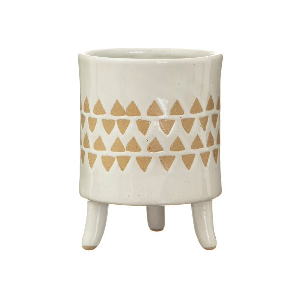 scan print plant pot with legs on a white background