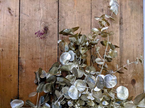 gold painted metallic preserved eucalyptus
